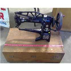 LEATHER INDUSTRIAL SINGER SEWING MACHINE - WITH CASE