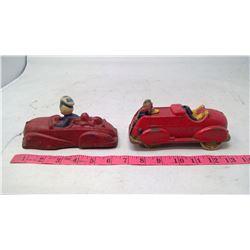 2- Vintage Plastic Cars (One Missing Head)
