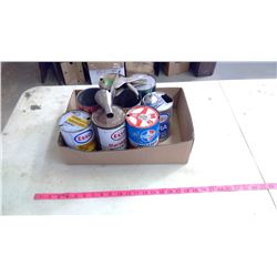 Assorted Oil Cans, Oiler & Funnel