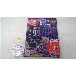 GRETZKY BOOK, (3)SHEETS HOCKEY CARDS & 1984 BUTTON