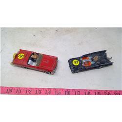 2 TOY CARS-CORGI-BATMAN AND RED CONVERTIBLE