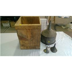 3 METAL FUNNELS &WOODEN BOX