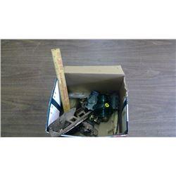 BOX OF COLLECTIBLES- INSULATORS,HARDWARE SKATES,ETC.