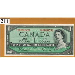 1954 BANK OF CANADA - $1 Replacement Note - Unc Condition