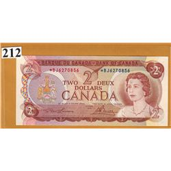 1974 BANK OF CANADA - $2 Replacement Note - Unc Condition