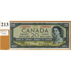 1954 BANK OF CANADA - $20.00 BANKNOTE - DEVIL'S FACE