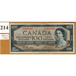 1954 BANK OF CANADA - $100.00 BANKNOTE - DEVIL'S FACE