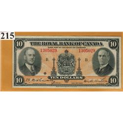 1935 ROYAL BANK OF CANADA - $10 BANKNOTE - SER. # 1305029