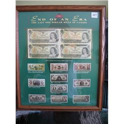 END OF AN ERA - FRAMED SHEET of 4 UNCUT 1973 $1.00 BANKNOTES