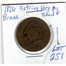 1820 brass 9 string harp token