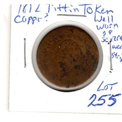 1812 tiffin token well worn or weak strike