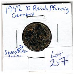 1942 10 Reichpfennig coin