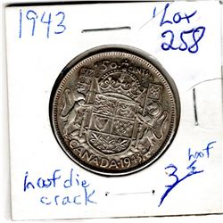 1943 fifty cent hoof die crack error with hearing aid variety