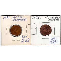 1971 & 1976 clip error pennies