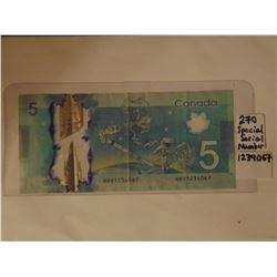special serial number $5.00 bill 1234067