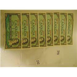 8 consecutive 1954 dollar bills