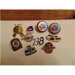 9 vintage curling pins Brier etc.