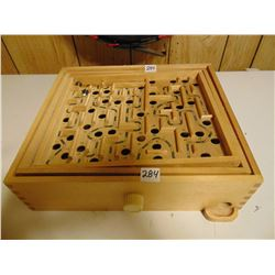 Wooden balance maze game with marbles