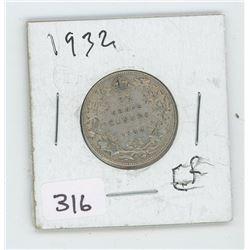 1932EF CANADIAN 25 CENT
