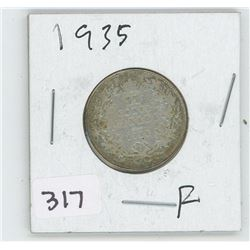 1935F CANADIAN 25 CENT