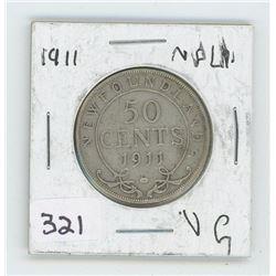 1911VG NFLD CANADIAN 50 CENT