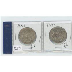 1951EF, 1952EF CANADIAN 50 CENTS