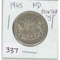 """1945ND- POINTED""""5"""" CANADIAN 50 CENT"""
