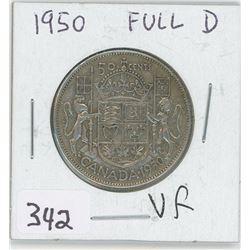 1950VF-FULL D CANADIAN 50 CENT