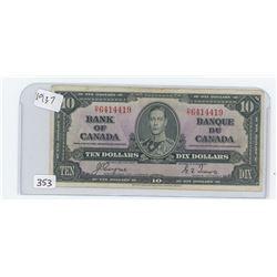 1937 BANK OF CANADA $10.00 BILL