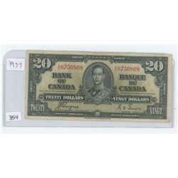 1937 BANK OF CANADA $20.00 BILL