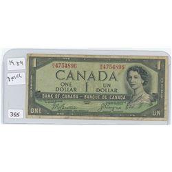 1954 DEVIL FACE CANADA $1.00 BILL