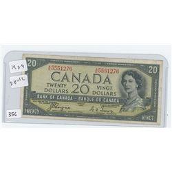 1954 DEVIL FACE CANADA $20.00 BILL