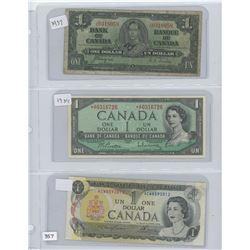 1937,1954,1973 CANADA $1.00 BILL