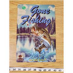 TIN SIGN 'GONE FISHING'