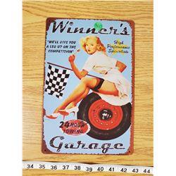 TIN SIGN ' WINNERS GARAGE'