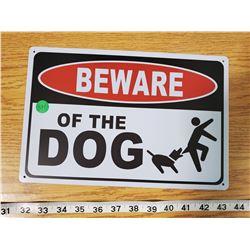 TIN SIGN 'BEWARE OF THE DOG'