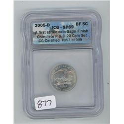 2005D ICG SP-69 US BUFFALO FIVE CENT COIN