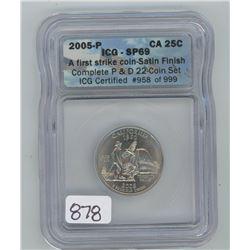 2005P ICG SP-69 US CALIFORNIA TWENTY-FIVE CENT COIN