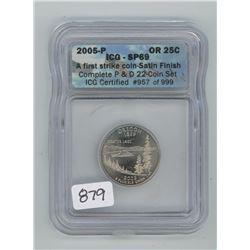 2005P ICG SP-69 US OREGON TWENTY-FIVE CENT COIN