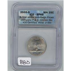2005P ICG SP-69 US MINNESOTA TWENTY-FIVE CENT COIN