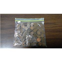 BAG OF OLD CANADIAN/ US PENNIES