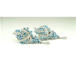 20CAI-2 DIAMOND & BLUE ZIRCON EARRINGS