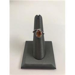 20RPS-42 ORANGE SAPPHIRE & DIAMOND RING