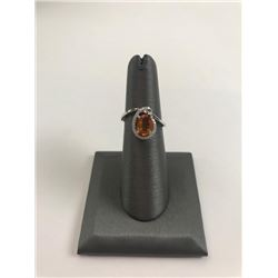 20RPS-42 ORANGE SAPPHIRE & DIAMOND RING