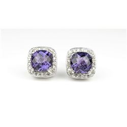 20CAI-58 AMETHYST & DIAMOND EARRINGS