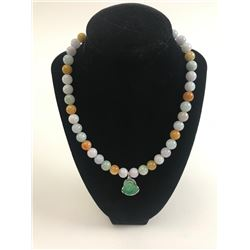 20RPS-39 MULTI-COLOR JADE BEAD NECKLACE