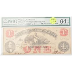 20CE-26 PMG FOLDER VIRGINIA $1 NOTE