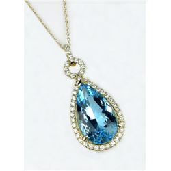 20CAI-29 SWISS BLUE TOPAZ & DIAMOND PENDANT