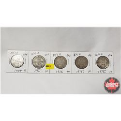 Newfoundland Fifty Cent - Strip of 5: 1909; 1911; 1918C; 1918C; 1919C