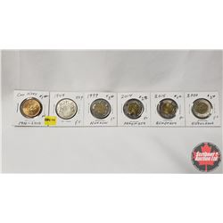 Canada Coins - Strip of 5: Loonie 1910-2010; Fifty Cent 1949; Toonies 1999; 2014; 2015; 2000